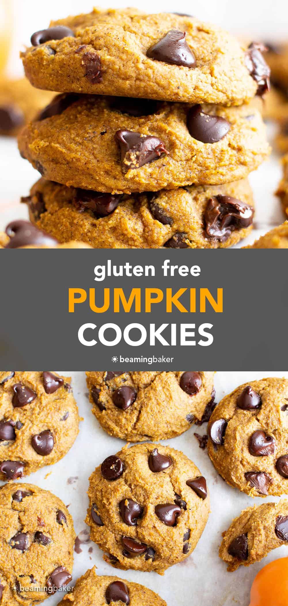 Gluten Free Pumpkin Cookies (Vegan): soft 'n fluffy gluten free pumpkin cookies bursting with chocolate chips! An easy recipe for moist, cake-like vegan gluten free pumpkin cookies with warm fall spices. #GlutenFree #Pumpkin #Cookies #Vegan   Recipe at BeamingBaker.com