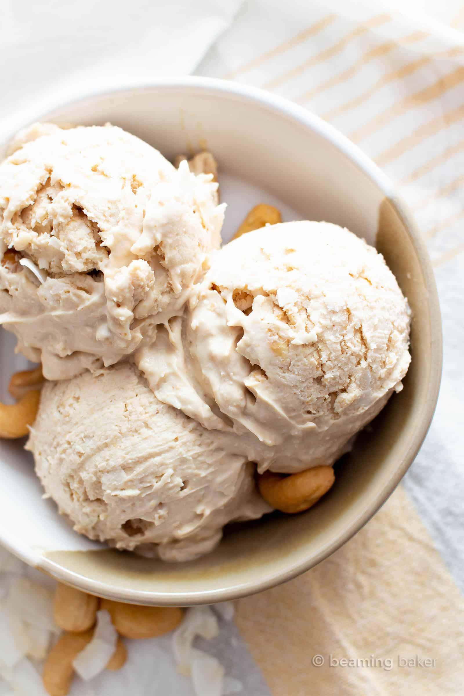 Cashew Ice Cream Recipe: just 3 ingredients for deliciously creamy cashew ice cream. The best cashew ice cream recipe—no churn, super easy and satisfying! Vegan, Paleo. #Cashew #IceCream #CashewIceCream #CashewButter | Recipe at BeamingBaker.com