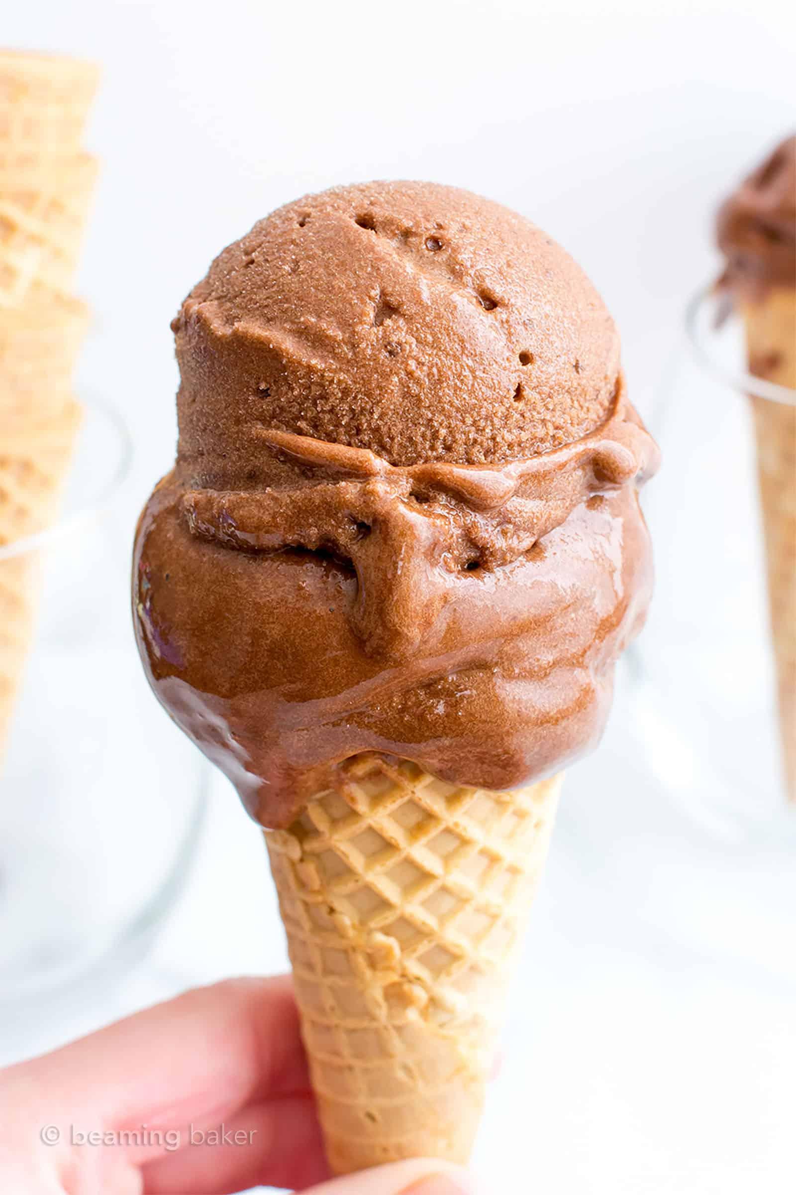 Dark Chocolate Nice Cream Recipe: my favorite nice cream recipe—rich 'n creamy chocolate nice cream, made with just 4 simple, whole ingredients. #NiceCream #Vegan #IceCream #Banana | Recipe at BeamingBaker.com