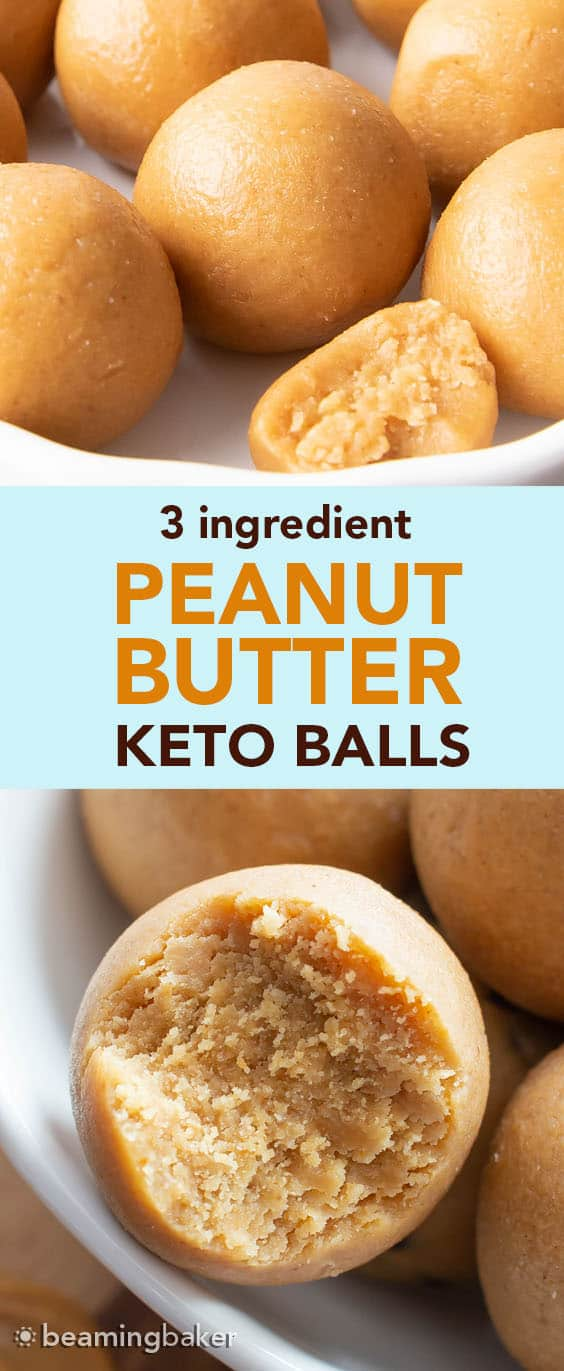 Peanut Butter Keto Energy Balls: just 3 ingredients for quick 'n easy keto peanut butter balls that are low carb! #Keto #PeanutButter #KetoBalls #LowCarb | Recipe at BeamingBaker.com