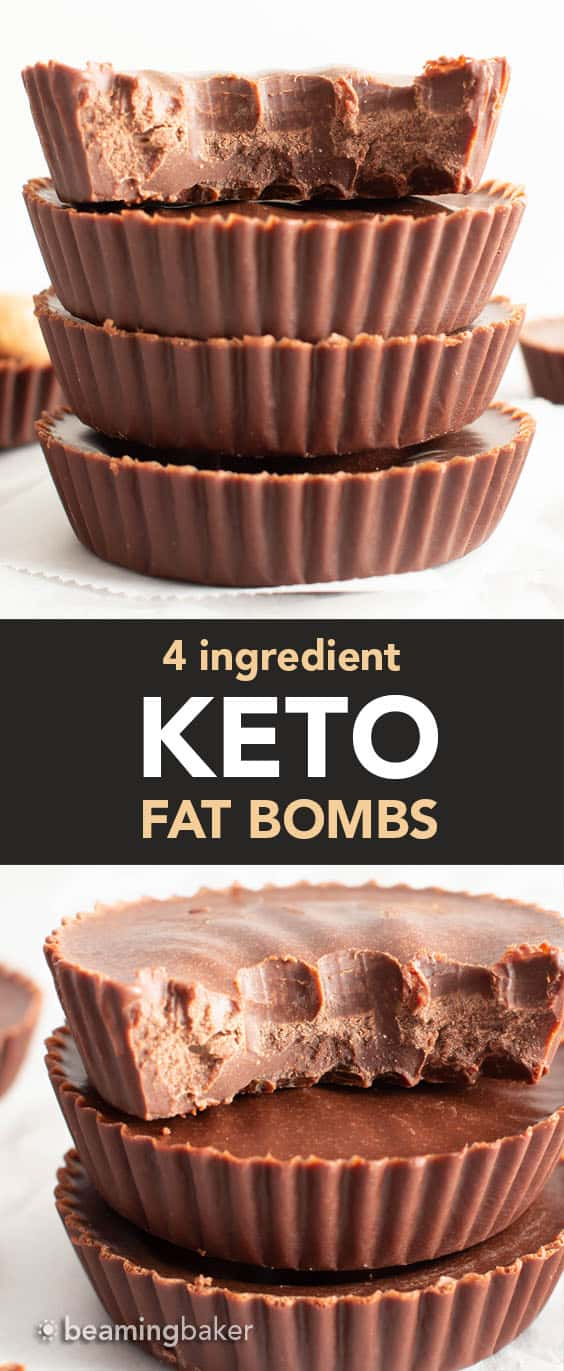 Keto Fat Bombs: only 4 ingredients for super easy to make keto fat bombs with chocolate and almond butter! My favorite keto fat bomb recipe. #Keto #FatBombs #KetoFatBombs #LowCarb | Recipe at BeamingBaker.com