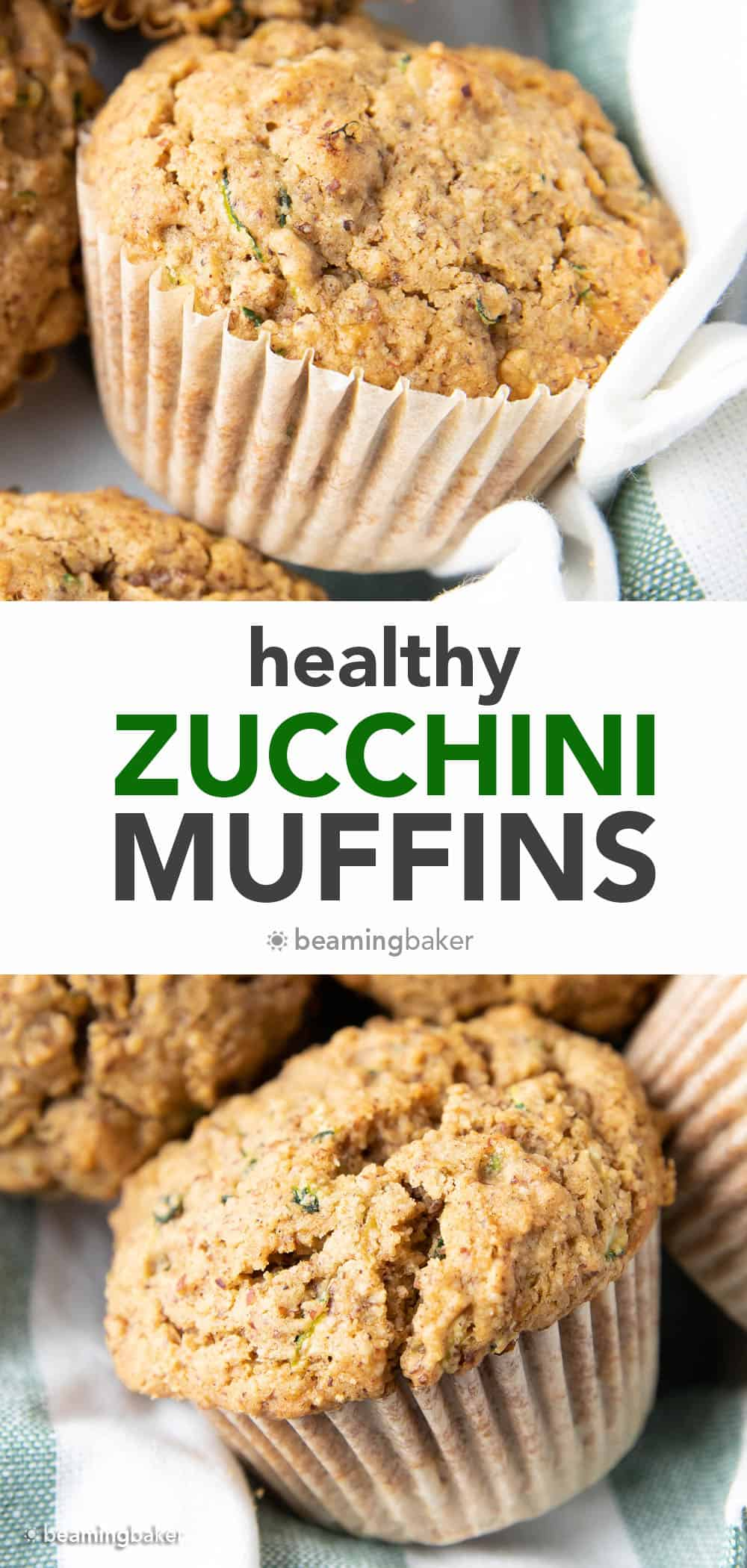 The Best Healthy Zucchini Muffins: Soft 'n moist zucchini muffins that are buttery, perfectly sweet and made with healthy ingredients. The best zucchini muffin recipe! #Healthy #Zucchini #Muffins #Recipe | Recipe at BeamingBaker.com