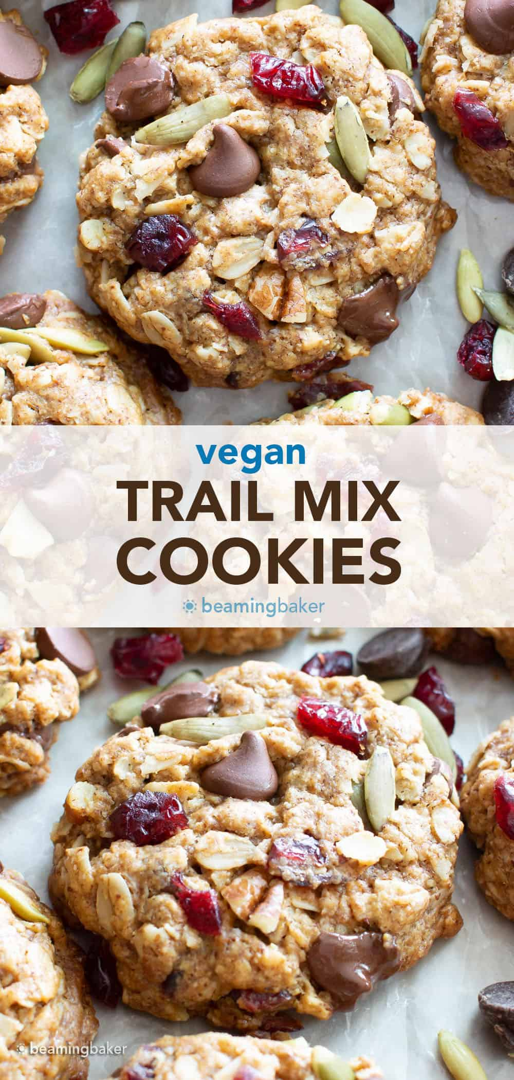 Chewy Vegan Trail Mix Cookies: an easy recipe for vegan trail mix cookies that are delightfully chewy and packed with healthy fruits, nuts and seeds! #Vegan #TrailMix #Cookies   Recipe at BeamingBaker.com