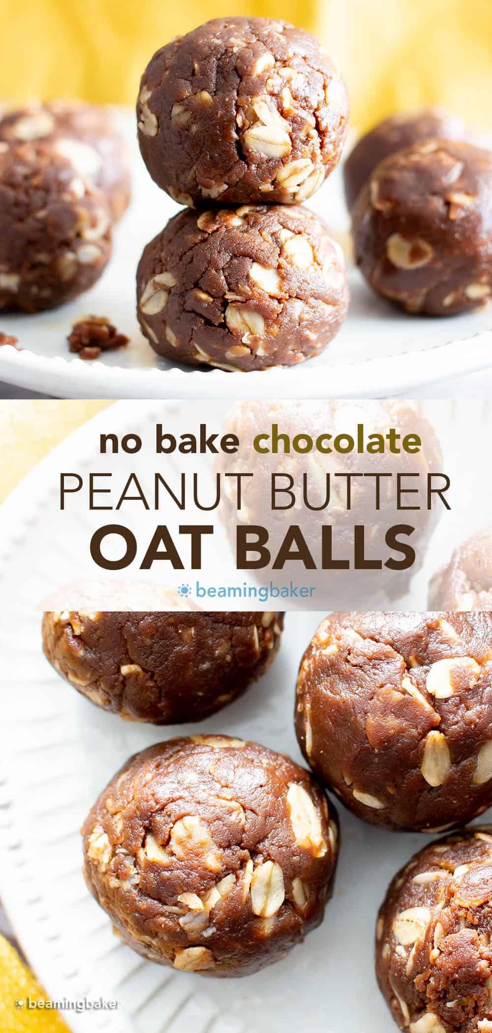 Chocolate Peanut Butter Oatmeal Balls: just 4 ingredients for the easiest chocolate peanut butter oatmeal balls made with healthy ingredients. No bake. #Chocolate #PeanutButter #Oatmeal #NoBake   Recipe at BeamingBaker.com