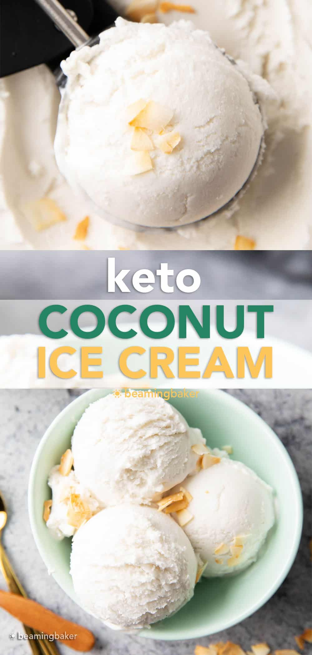 Coconut Milk Keto Ice Cream – Keto Coconut Ice Cream: the best coconut milk keto ice cream—bursting with coconut flavor & low carb. Keto coconut ice cream that has just 1 net carb per serving! #Keto #CoconutMilk #KetoIceCream #LowCarb #IceCream | Recipe at BeamingBaker.com