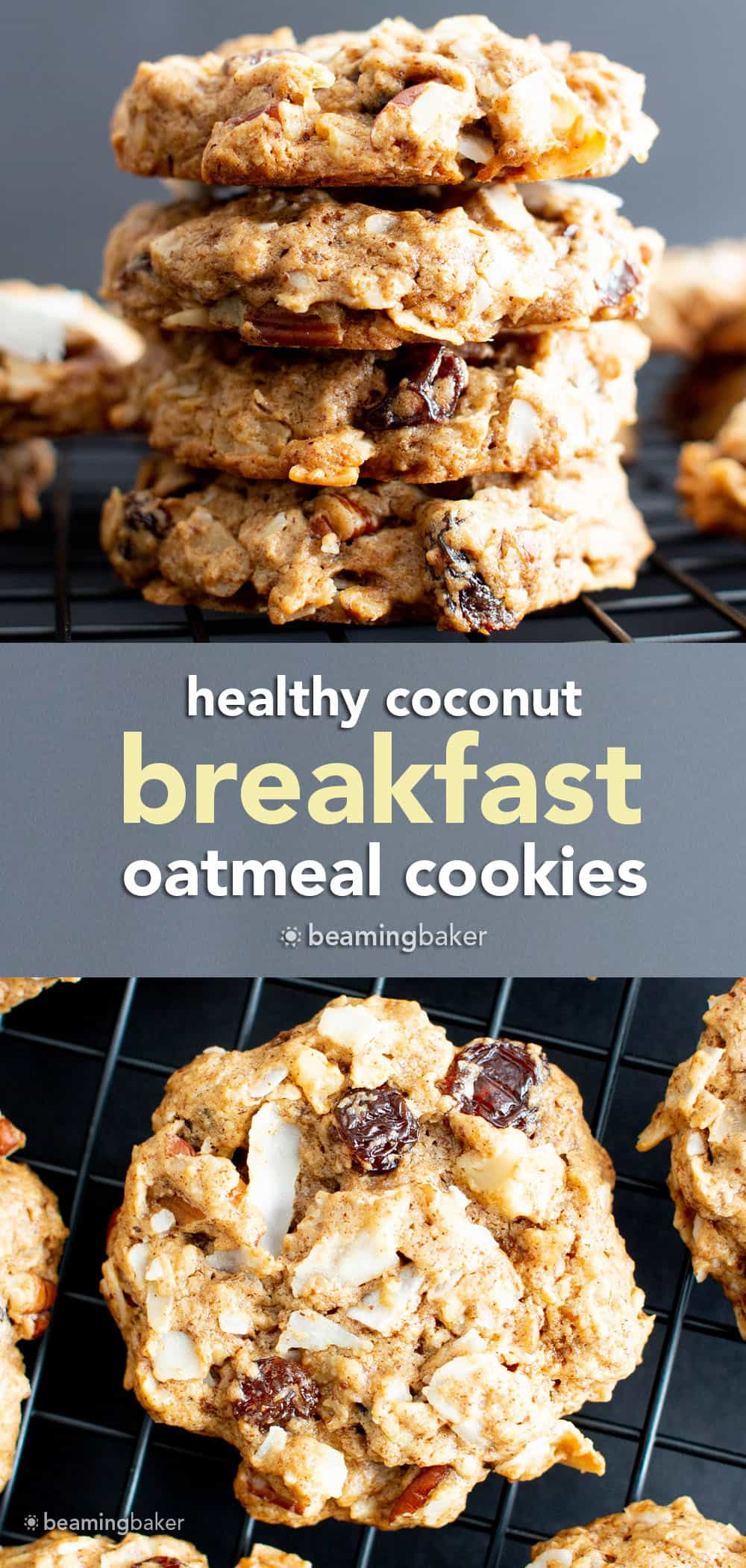 Healthy Oatmeal Coconut Cookies: delicious oatmeal coconut cookies with chewy & crispy goodness! Wonderfully healthy, vegan and gluten free. #healthy #coconut #oatmeal #cookies #vegan #glutenfree | Recipe at BeamingBaker.com
