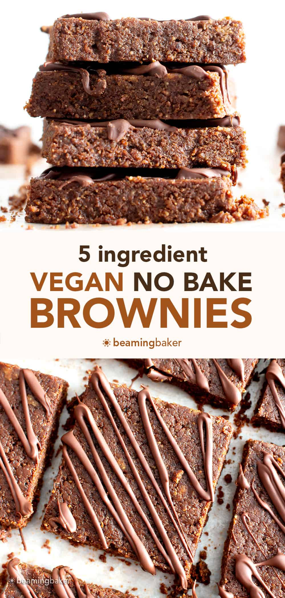 No Bake Vegan Brownies: this 5 ingredient no bake brownies recipe yields deliciously soft 'n dense no bake vegan brownies that'll satisfy your chocolate cravings! #NoBake #Brownies #Vegan | Recipe at BeamingBaker.com