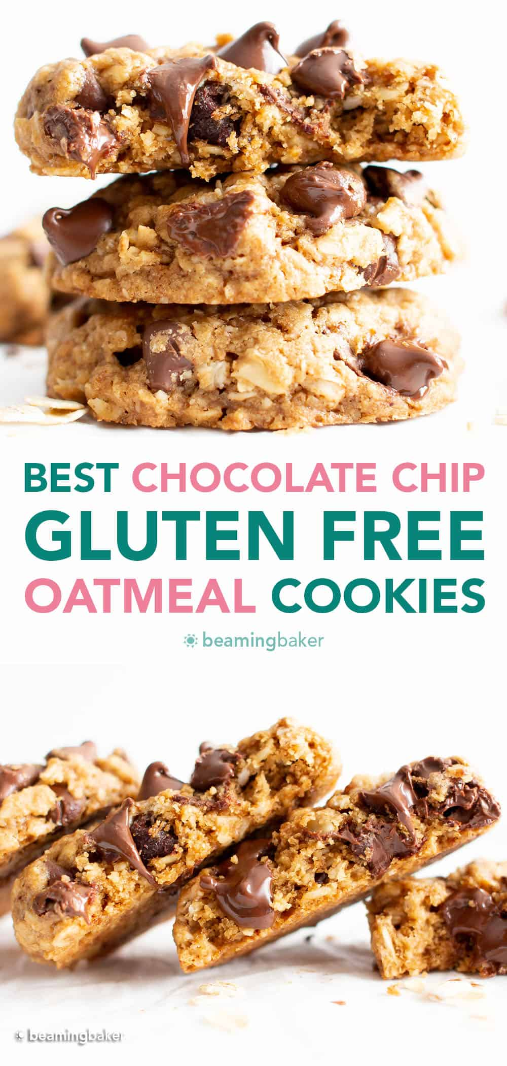 The BEST Gluten Free Oatmeal Chocolate Chip Cookies are crispy on the outside, perfectly chewy 'n soft on the inside, and packed with cozy oatmeal & rich chocolate chip flavor. #GlutenFree #OatmealChocolateChipCookies #OatmealCookies #GFCookies | Recipe at BeamingBaker.com