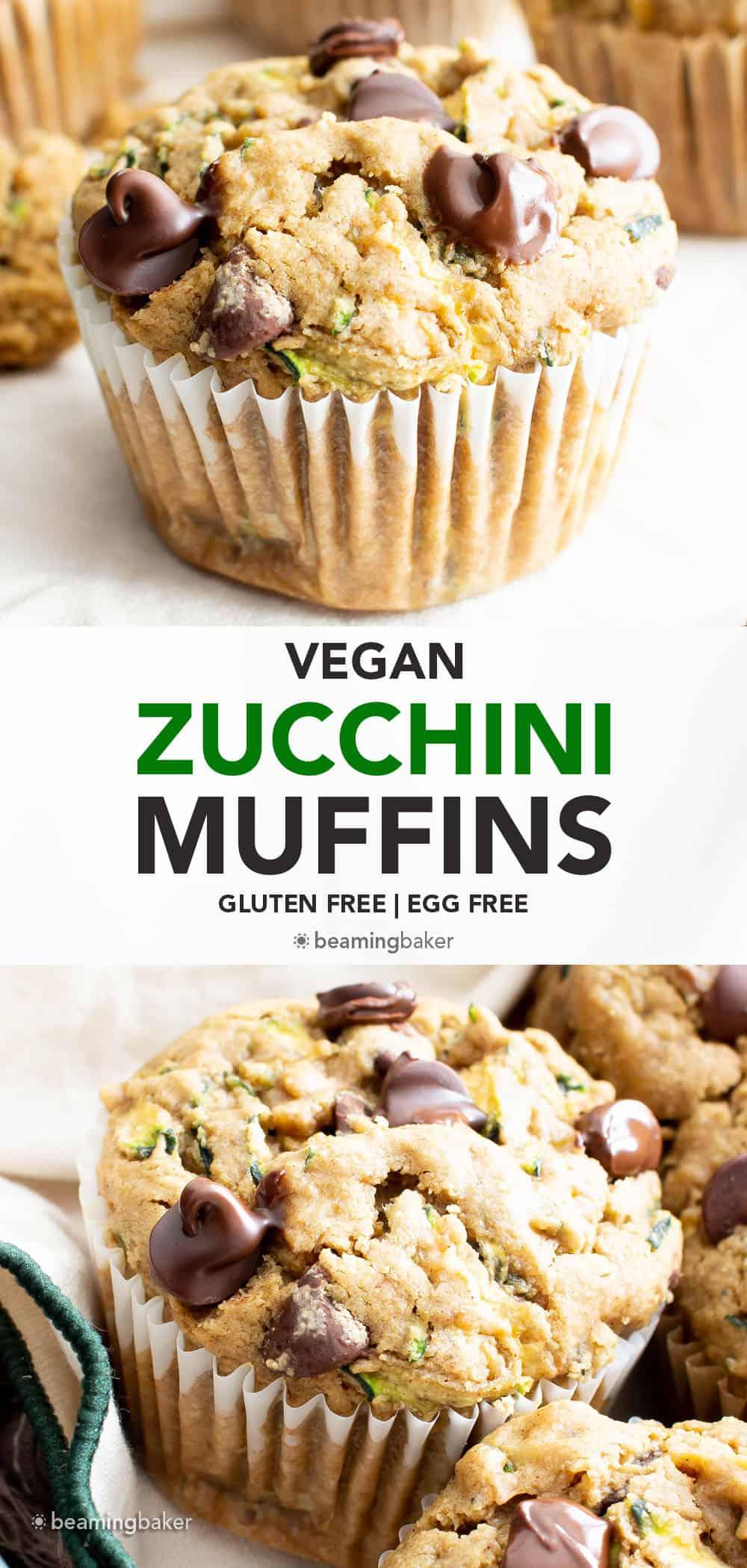 Vegan Zucchini Muffins (Gluten Free): deliciously moist vegan zucchini muffins that are buttery 'n fluffy! The best gluten free zucchini muffins—egg-free & delicious. #Vegan #GlutenFree #Zucchini #Muffins | Recipe at BeamingBaker.com