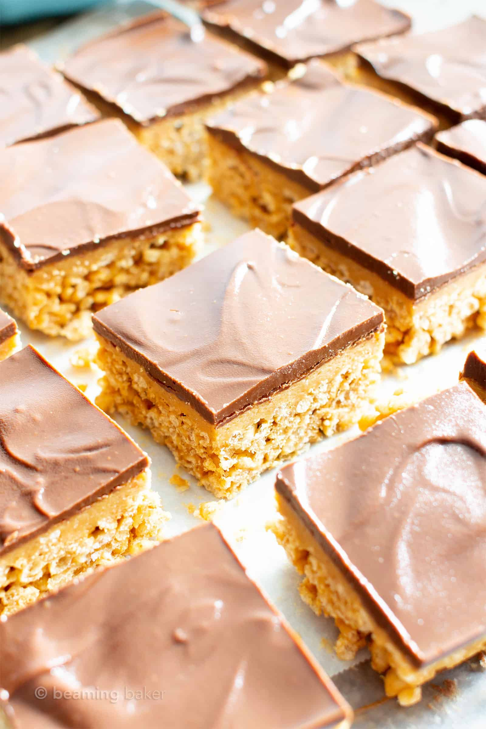 peanut butter rice crispy treats in a single layer with space in between each treat