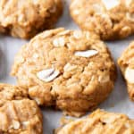 Peanut Butter Coconut Oatmeal Cookies (Vegan, Gluten Free): an easy recipe for deliciously thick, chewy peanut butter cookies bursting with coconut and oats. Refined Sugar-Free, Clean Ingredients, Dairy-Free. #PeanutButter #Cookies #Coconut #Oatmeal | Recipe at BeamingBaker.com