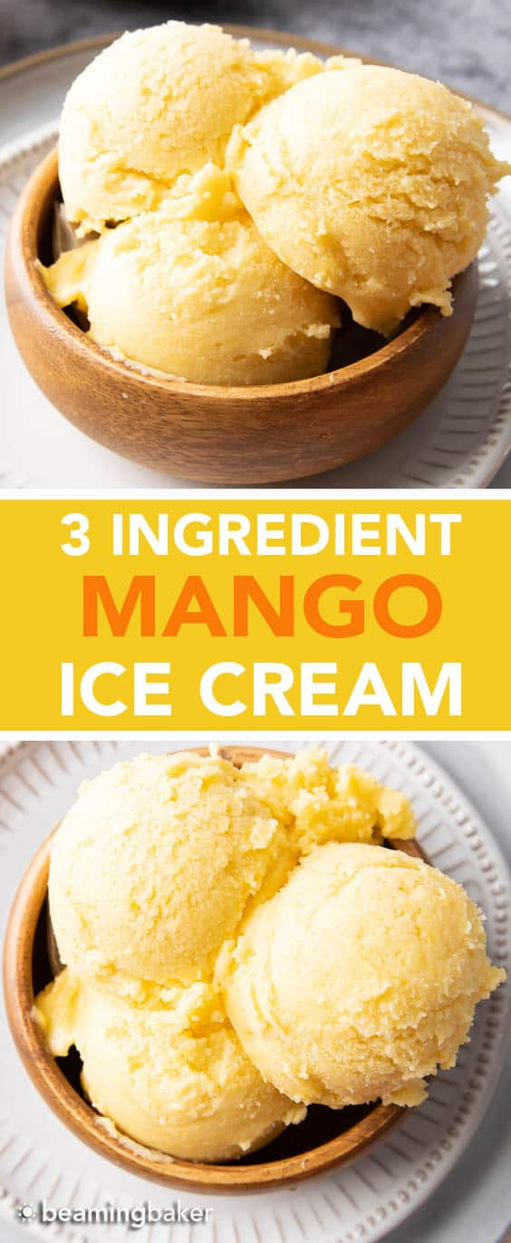 Homemade Mango Ice Cream: this 3 ingredient mango ice cream recipe is super EASY! 5 mins of prep for the best mango ice cream: rich & creamy with big mango flavor! Vegan, Dairy-Free, Healthy #Mango #IceCream #Vegan #DairyFree | Recipe at BeamingBaker.com