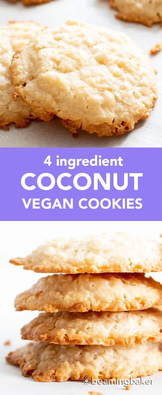 4 Ingredient Vegan Coconut Cookies: chewy, crispy healthy coconut cookies bursting with coconut flavor. The best gluten free coconut cookies—paleo ingredients, delicious! #Vegan #Cookies #Paleo #Healthy #Coconut | Recipe at BeamingBaker.com