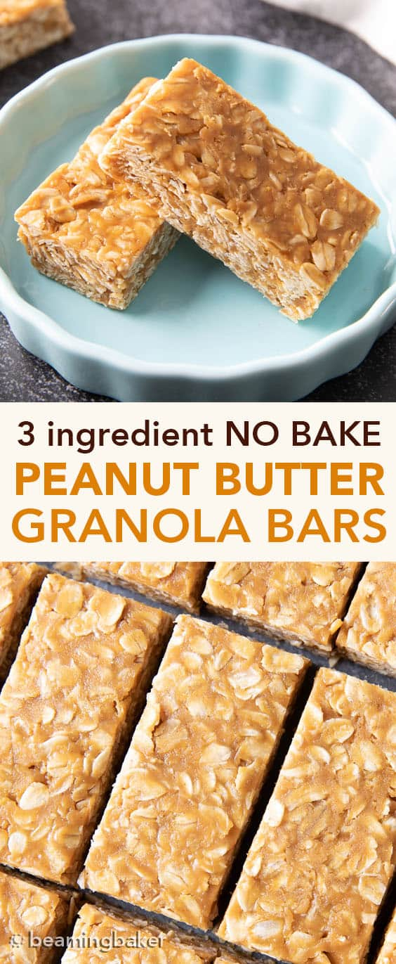 3 Ingredient No Bake Peanut Butter Granola Bars (GF): this homemade peanut butter granola bars recipe is so EASY! The best oatmeal peanut butter granola bars recipe without honey, that tastes like honey roasted peanuts. Healthy, Vegan, Gluten Free. #PeanutButter #GranolaBars #NoBake #Oatmeal | Recipe at BeamingBaker.com