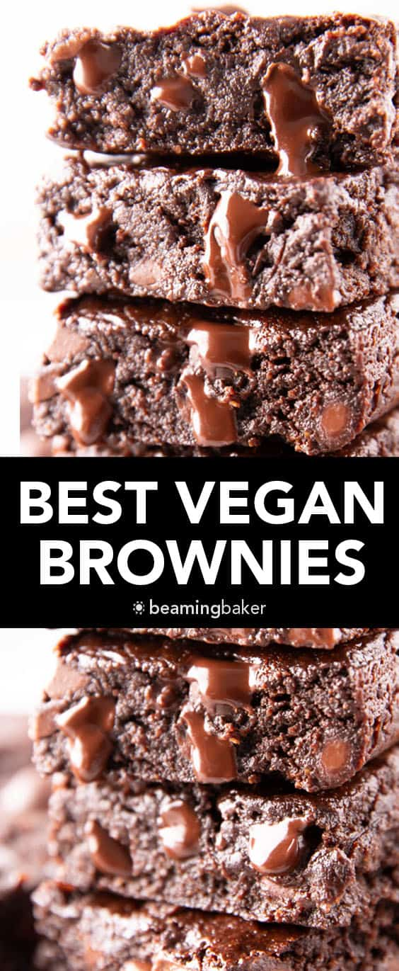 Best Vegan Brownies Recipe: easy & moist homemade vegan brownies—the BEST vegan chocolate brownies ever! Rich chocolate flavor, fudgy center and made from scratch! #Vegan #Brownies #Recipe #DairyFree | Recipe at BeamingBaker.com