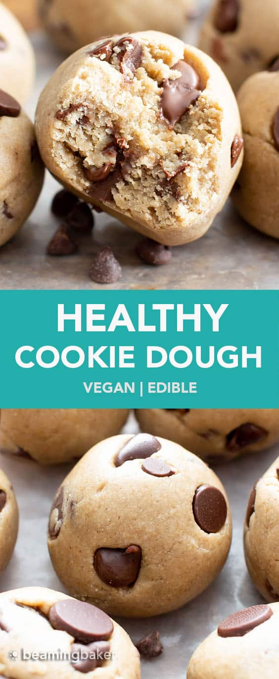 Vegan Cookie Dough Bites: a 5 ingredient healthy cookie dough recipe for vegan edible cookie dough! Safe to eat raw & it's eggless! Made with healthy vegan ingredients. #Vegan #Healthy #CookieDough #Edible | Recipe at BeamingBaker.com