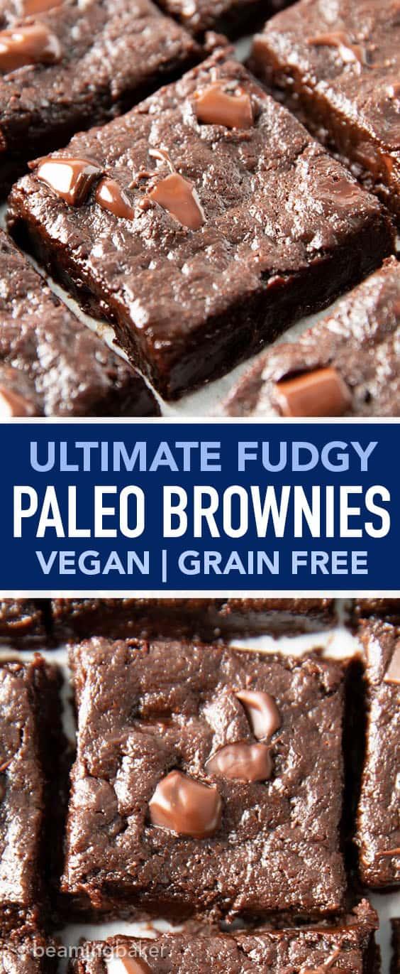Ultimate Fudgy Paleo Vegan Brownies Recipe (GF): ultra-moist, deep chocolate flavor, fudgy, gooey YUM—the BEST paleo brownies recipe! Made with almond flour, Gluten Free, Vegan, Grain-Free. #Paleo #Brownies #Vegan #Fudgy | Recipe at BeamingBaker.com