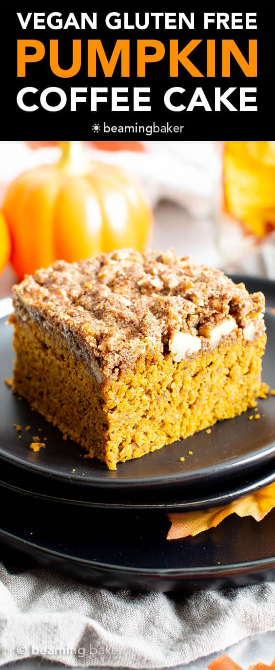 This vegan gluten free pumpkin coffee cake recipe yields a thick layer of moist, healthy pumpkin cake with a cinnamon sweet, buttery-rich topping. The best gluten free pumpkin dessert—tastes like vegan spice cake & made with healthy ingredients. #Pumpkin #Vegan #GlutenFree #Healthy #CoffeeCake | Recipe at BeamingBaker.com