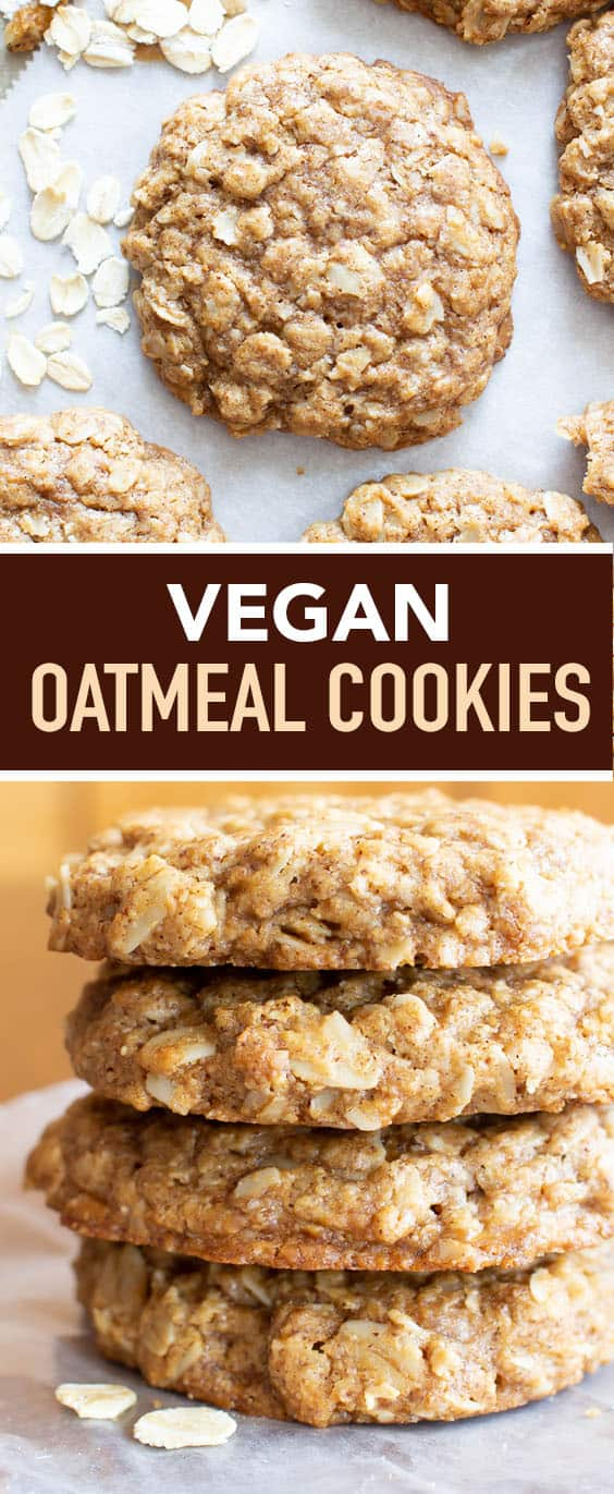 The best vegan oatmeal cookies—crispy edges, chewy centers & perfectly spiced. A simple & easy vegan oatmeal cookies recipe. #Vegan #Oatmeal #Cookies | Recipe at BeamingBaker.com