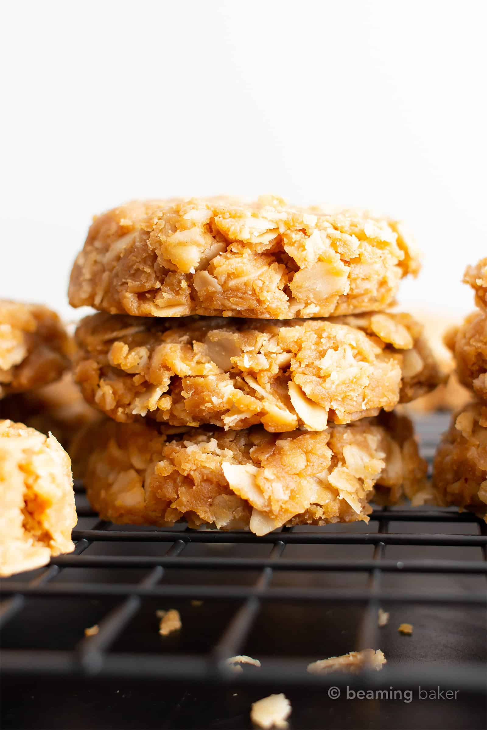 3 ingredient No Bake Peanut Butter Oatmeal Cookies: super easy recipe for healthy no bake cookies without milk—the best gluten free vegan peanut butter cookies! #PeanutButter #NoBake #Oatmeal #Vegan #GlutenFree | Recipe at BeamingBaker.com
