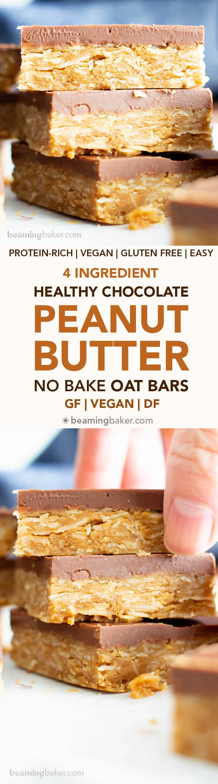 4 Ingredient Healthy No Bake Peanut Butter Cup Oat Bars: this vegan peanut butter oatmeal bars recipe is so easy to make & tastes like peanut butter cups! Chewy peanut butter oatmeal bars with a thick, chocolate topping. #Vegan #GlutenFree #Healthy #PeanutButter #Oats #Oatmeal | Recipe at BeamingBaker.com