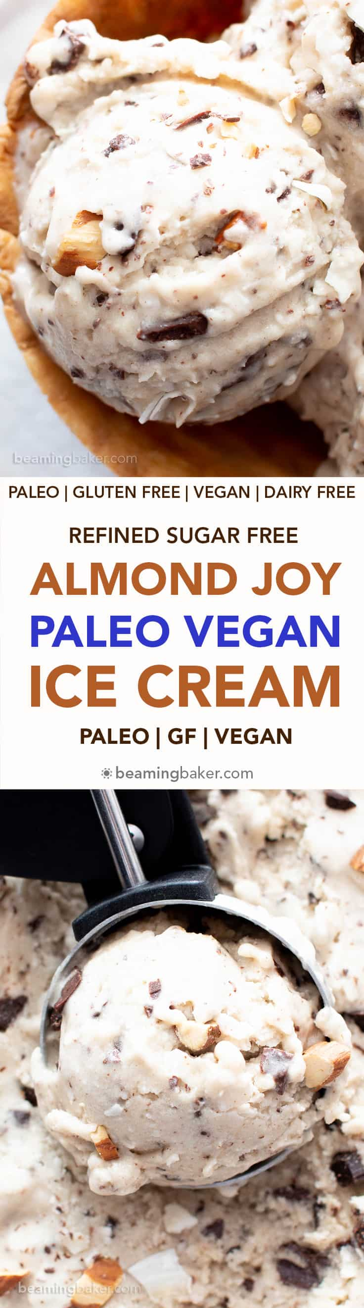 Almond Joy Vegan Paleo Ice Cream Recipe (Refined Sugar-Free): this easy, no churn ice cream is bursting with coconut, chocolate and Almond JOY flavors! Gluten free, Dairy free, Delicious. #Paleo #Vegan #IceCream #AlmondJoy #DairyFree | Recipe at BeamingBaker.com