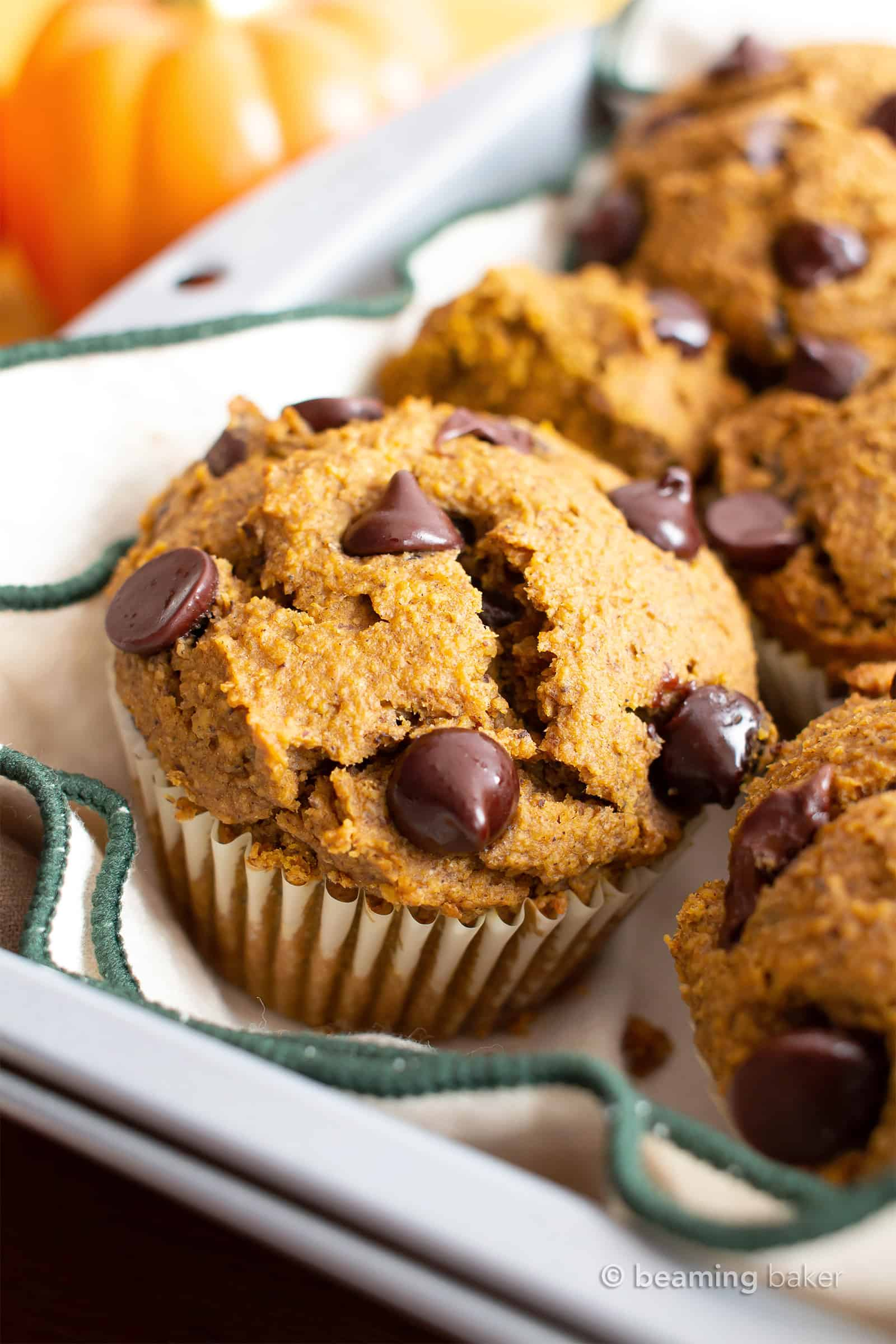 Gluten Free Pumpkin Chocolate Chip Muffins Recipe (GF): this easy gluten free pumpkin muffins recipe makes perfectly spiced GF pumpkin muffins! Made in 1-bowl with healthy, whole ingredients. #Pumpkin #Muffins #Chocolate #GlutenFree #Vegan | Recipe at BeamingBaker.com
