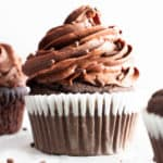 Vegan Gluten Free Chocolate Cupcakes (GF): fluffy 'n moist healthy chocolate cupcakes with a soft crumb, topped with creamy, smooth chocolate frosting! The best GF oat flour cupcakes—Refined Sugar-Free, Dairy-Free! #GlutenFree #Cupcakes #Vegan #Chocolate #DairyFree | Recipe at BeamingBaker.com