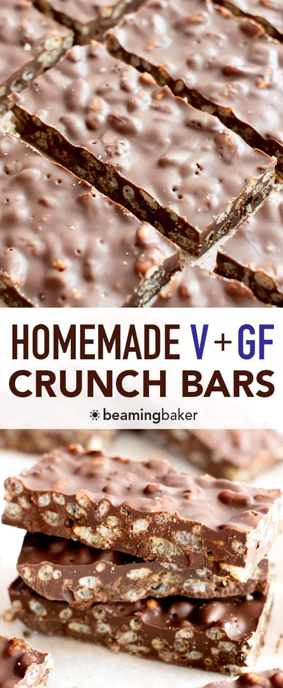 3 Ingredient Homemade Crunch Bar Recipe (V, GF): Quick & Easy DIY crispy homemade crunch bars! Made with rich, decadent chocolate and vegan gluten free brown rice crisp cereal. #Vegan #GlutenFree #DairyFree #DIY #Candy | Recipe at BeamingBaker.com