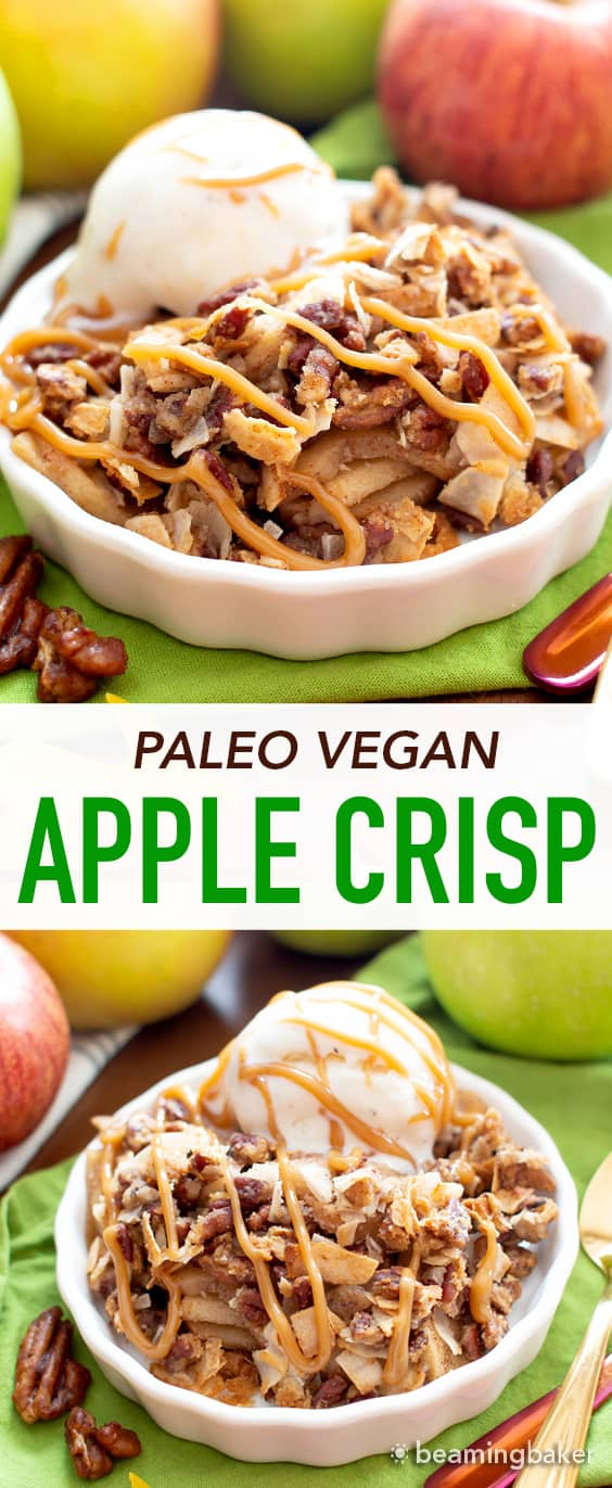 Paleo Apple Crisp: this grain free apple crisp recipe yields SUPER CRISPY topping over warm, gooey apple filling. The best gluten free paleo apple crumble: fall dessert YUM! #Paleo #GrainFree #GlutenFree #Apples | Recipe at BeamingBaker.com