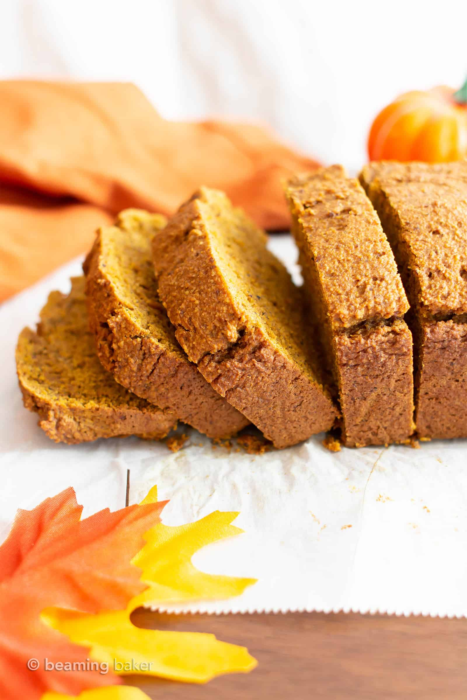 Gluten Free Vegan Pumpkin Bread (GF): this moist, classic gluten free pumpkin bread recipe is flourless, healthy! The best dairy free pumpkin bread—made with oat flour! #Vegan #GlutenFree #Pumpkin #DairyFree | Recipe at BeamingBaker.com