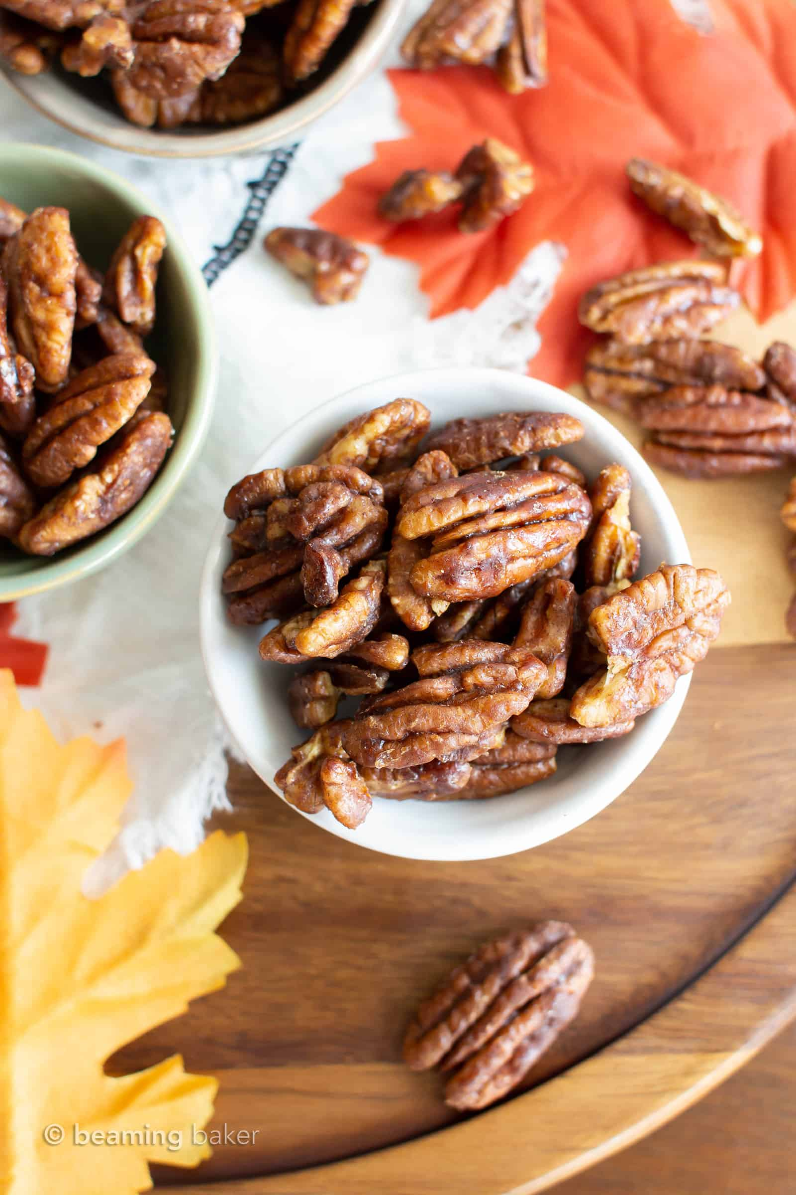 Skillet Roasted Maple Cinnamon Pecans: this 5 minute maple pecans recipe is quick & easy! The ultimate maple roasted pecans with cinnamon & coconut sugar! #Paleo #Snacks #Pecans #Maple | Recipe at BeamingBaker.com