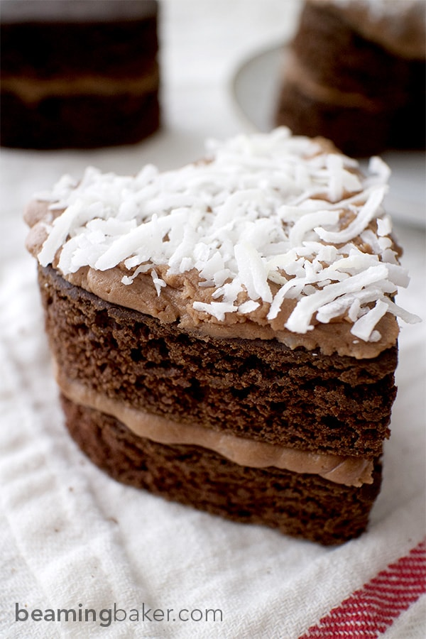 Adorable mini, heart-shaped, two-layer chocolate cakes topped with slightly sweet coconut oil frosting. An impressive and delightful treat to make for any occasion.