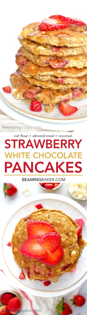 An easy recipe for the BEST fluffy strawberry white chocolate chip pancakes! Made with simple ingredients: oat flour, almond meal, whole wheat flour and coconut. BEAMINGBAKER.COM