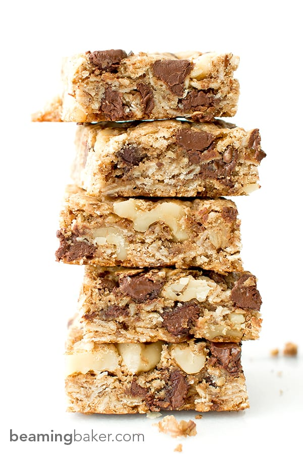 Chocolate Chip Walnut Cookie Bars: a simple vegan and gluten-free recipe for thick, chewy, super-chunky chocolate chip cookie bars. BEAMINGBAKER.COM #Vegan #GlutenFree