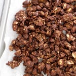 Simple, crunchy, sweet-tooth satisfying Chocolate Almond Coconut Granola. This wholesome recipe is perfect for an afternoon snack or dessert.