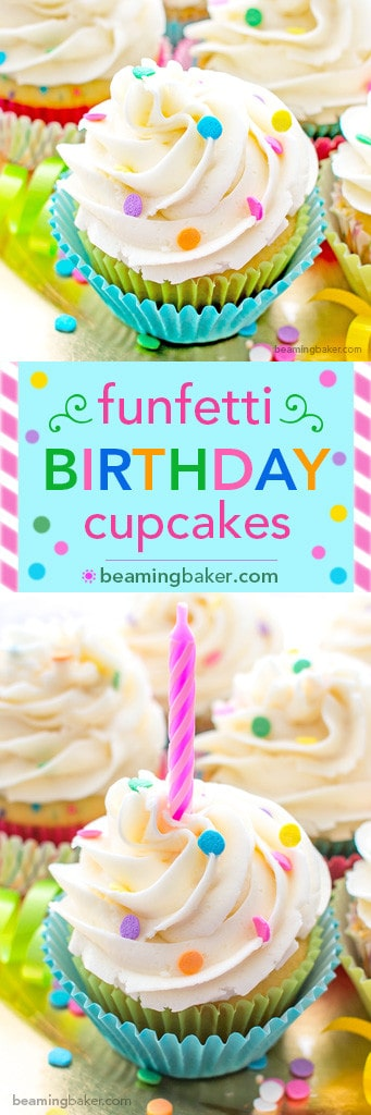 Funfetti Birthday Cupcakes: Moist, classic white cupcakes speckled with funfetti sprinkles and topped with luscious, fluffy vanilla frosting. BEAMINGBAKER.COM #birthday #cupcakes #funfetti