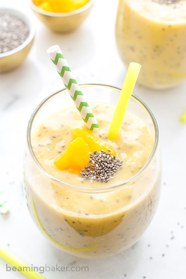Mango Chia Seed Smoothie: An easy recipe for a refreshing and delicious Mango Chia Seed Smoothie. BEAMINGBAKER.COM #Vegan #GlutenFree