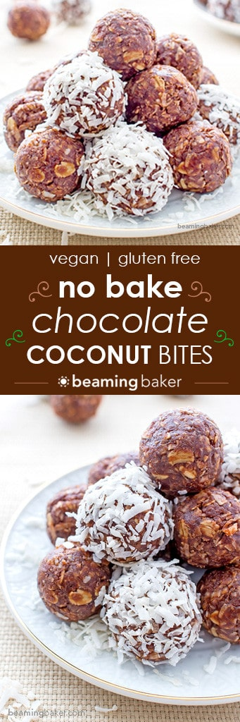 No Bake Chocolate Coconut Bites: A one bowl recipe for soft, chewy and indulgent no bake chocolate coconut bites. Vegan, gluten-free and delicious. BEAMINGBAKER.COM #Vegan #Glutenfree #NoBake