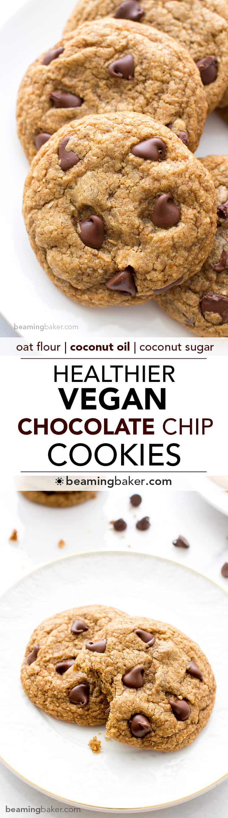 Healthier Vegan Chocolate Chip Cookies - Beaming Baker
