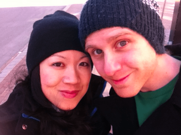 Here's the two of us bundled up for Maine weather. The cold won't relent. Not even for Erik's birthday. How rude...