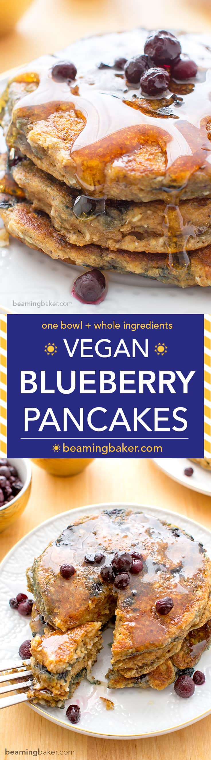 Vegan Blueberry Pancakes: A one bowl recipe for fluffy, moist blueberry pancakes that are perfect for a cozy breakfast or brunch. BEAMINGBAKER.COM #Vegan #OneBowl