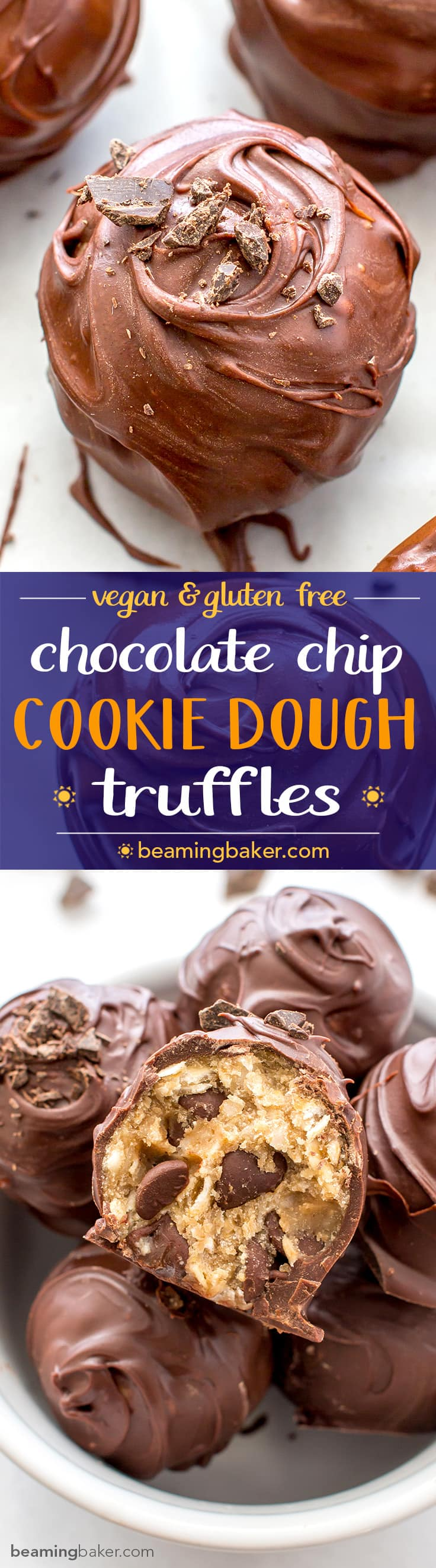 Chocolate Chip Cookie Dough Truffles (V+GF): Decadent chocolate chip cookie dough bites wrapped in a velvety blanket of rich, dark, indulgent chocolate. BEAMINGBAKER.COM. #Vegan #GlutenFree