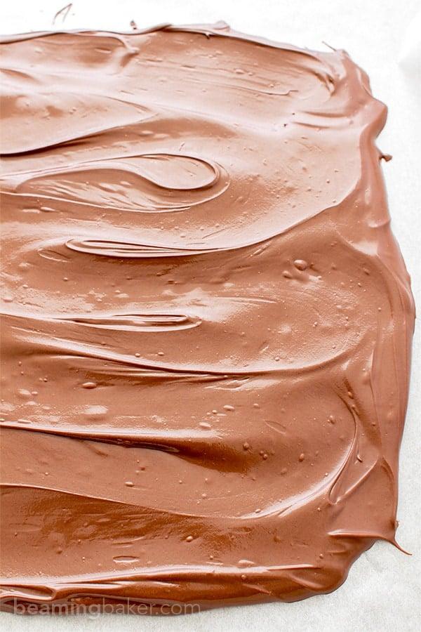 Chocolate Coconut Granola Bark (V+GF): Richly indulgent, heavenly chocolate covered coconut granola enrobed in a thick layer of chocolate. BeamingBaker.com #Vegan #GlutenFree