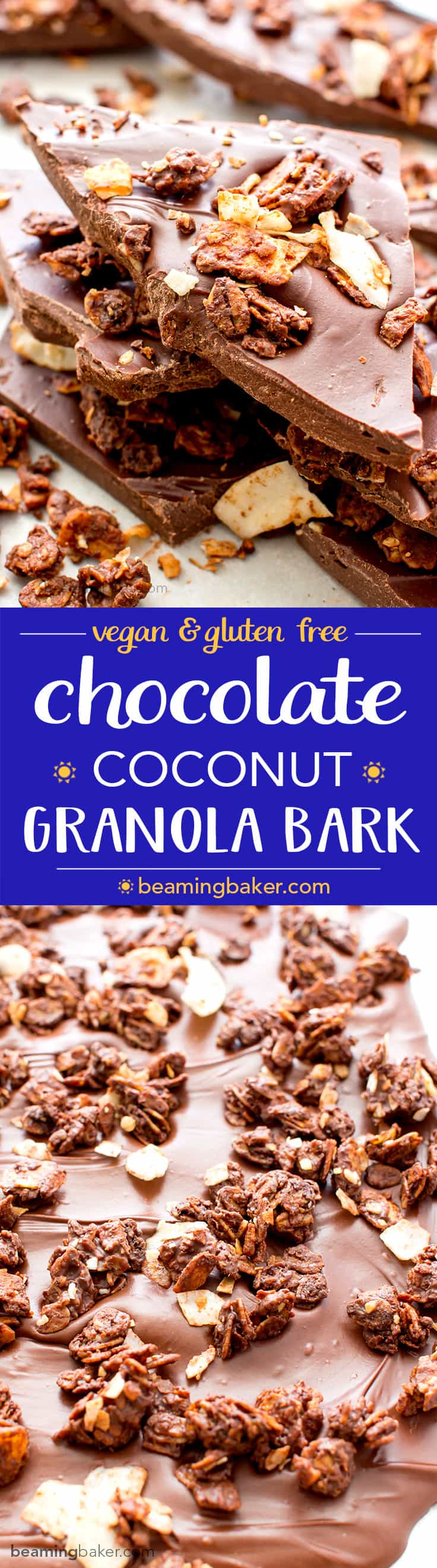 Chocolate Coconut Granola Bark (V+GF): Richly indulgent, heavenly chocolate covered coconut granola enrobed in a thick layer of chocolate. BeamingBaker.com #Vegan #GlutenFree