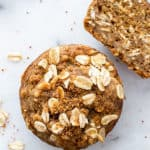 Gluten Free Banana Oat Muffins (V+GF): a one bowl recipe for warm, moist and lightly sweet Banana Oat Muffins made with simple ingredients. BEAMINGBAKER.COM #Vegan #GlutenFree