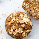 Gluten Free Banana Oat Muffins (V+GF): an easy recipe for warm, moist and lightly sweet Banana Oat Muffins made simple ingredients. BEAMINGBAKER.COM #Vegan #GlutenFree