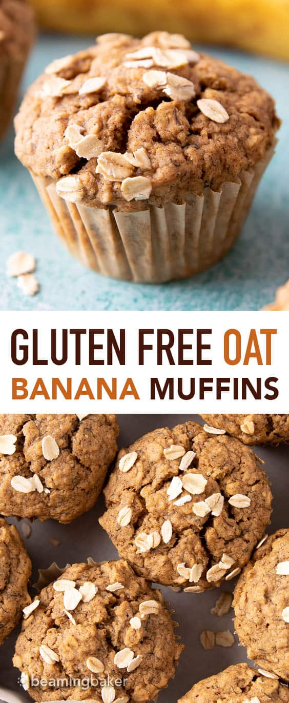 Gluten Free Banana Oat Muffins (V+GF): a one bowl recipe for warm, moist and lightly sweet Banana Oat Muffins made with simple ingredients. #vegan #glutenfree #breakfast #healthy | Recipe on BeamingBaker.com