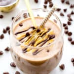Chocolate Peanut Butter Banana Smoothie (V+GF): a protein-rich, 6-ingredient recipe for a smooth and creamy chocolate peanut butter lover's smoothie. Tastes like a sundae. #Vegan #GlutenFree   BeamingBaker.com