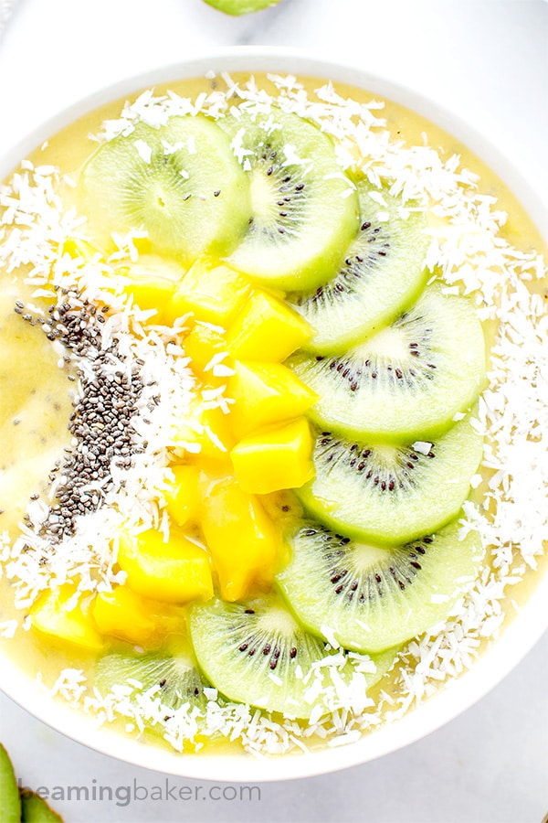 Mango Kiwi Chia Seed Smoothie Bowl (V+GF): a super easy recipe for a light, refreshing and filling smoothie bowl full of mangoes and topped with kiwis. #Vegan #GlutenFree   BeamingBaker.com